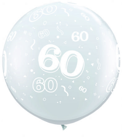 3FT Diamond Clear  Age 60 Latex Balloons x 2